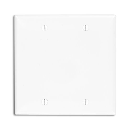 (Leviton 80725-W 2-Gang No Device Blank Wallplate, Box Mounted, White)