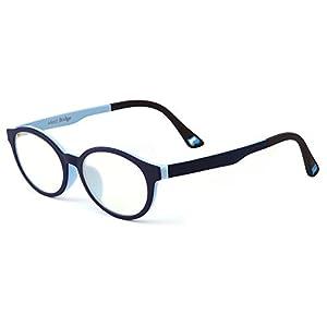 Mind Bridge Kids Computer Glasses Video Gaming Glasses - Anti Harmful Blue Light/UV400 | Anti Glare | Protection Eyewear for Children Digital Screen Time & Technology Use | Model 1029 (Black + Blue)