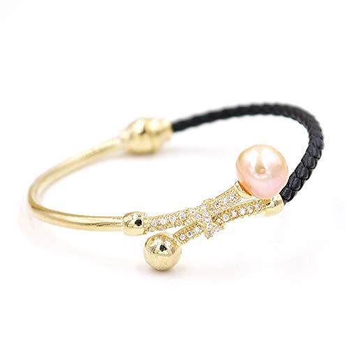 Lee Designer Bracelets (B863010Z-Baroque Pearl Luxury Leather Bracelet Birthday Gift Jewelry Gold)