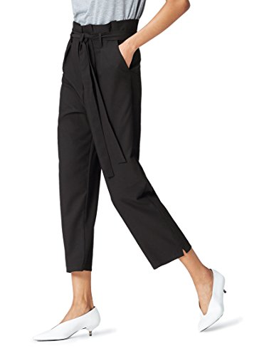 find. Women's Paperbag Waist Trouser, Black (Schwarz), XL (US 12-14)