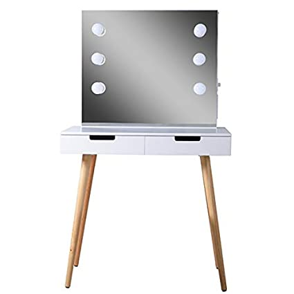 lowest price bf55d 26a4c GLS White Large Makeup Vanity Table Desk with Drawers and Mirror Jewelry  Armoire and LED Light