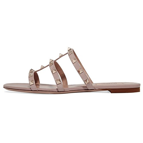 (Kmeioo Mules for Women,Rivets Slide Sandals Rockstud Mule Flats Strappy Studded Gladiator Sandals Cut Out Dress Slippers Nude)