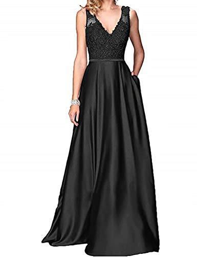 Scarisee Women's A-line V-Neck Floor-Length Lace Beaded Prom Evening Dresses Pockets Formal Bridesmaid Party Gowns Black -