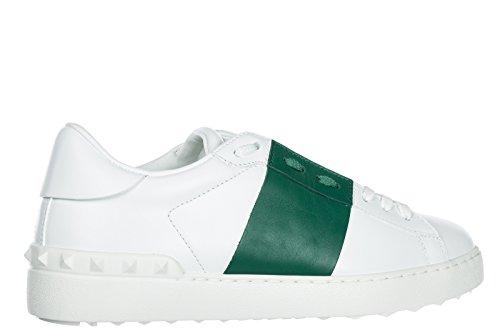 Valentino Damenschuhe Turnschuhe Damen Leder Schuhe Sneakers Open Weiß