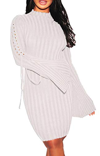 Women Sexy Midi Sweater Dress Turtleneck Long Bell-Sleeves Bandage Hollow Knit Stretchable Pencil for Party White