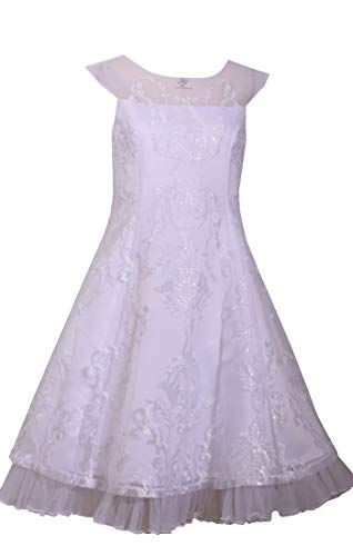 Bonnie Jean Girl's First Communion Dress Embroidered Lace Overlay (10) White ()