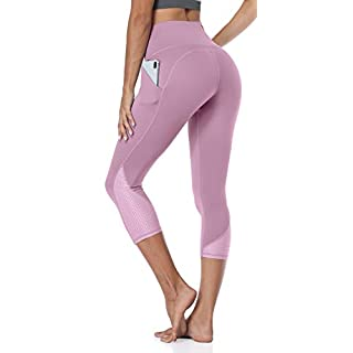 ATTRACO Capri Leggings for Women High Waist Yoga Pants with Pockets Workout Tummy Control Cropped Legging