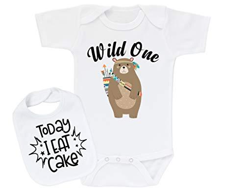 Summerbirch Boy First Birthday Outfit 1st Bday One Year Old Wild One Bear + Bib