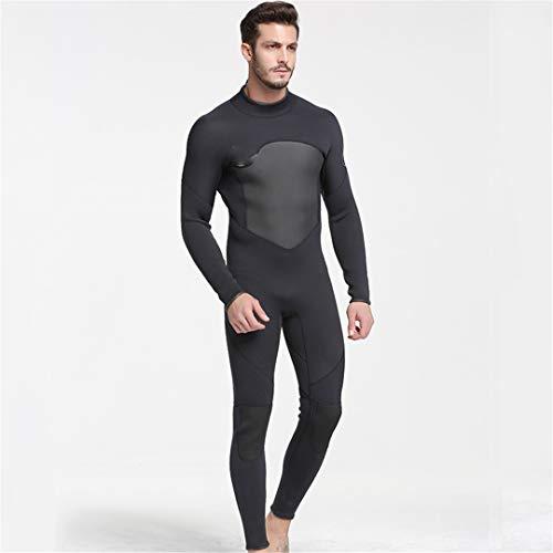 Men One Piece Neoprene Full-Body Diving Suits with Warm Wetsuit Surfing Suit Black Swim Wears Keep Back Zip Black XXL