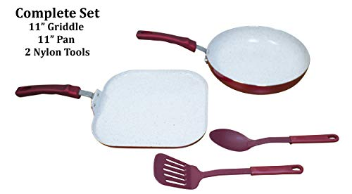 (IMUSA USA 4pc Ruby Red Cookware (Griddle, Fry Pan, 2pc Nylon Tool Set), 4 Piece)