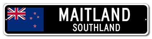New Zealand Flag Sign   Maitland  Southland   Kiwi Custom Flag Sign   6 X24  Inches