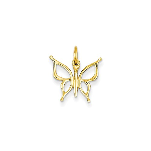(14k Gold Butterfly Charm Pendant (0.67 in x 0.59 in))