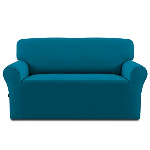 Easy-Going Fleece Stretch Sofa Slipcover - Spandex Anti-Slip Soft Couch Sofa Cover, Washable Furniture Protector with Anti-Skid Foam and Elastic Bottom for Kids, Pets(Loveseat,Peacock Blue)