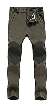 Ivnfout Mens Outdoor Windproof Waterproof Hiking Mountain Ski Pants Soft Shell Fleece Lined Trousers