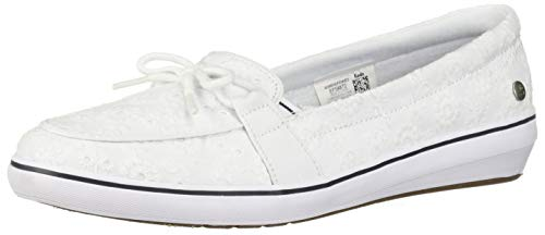 Grasshoppers Women's Windsor Bow Eyelet Sneaker, White, 5 -