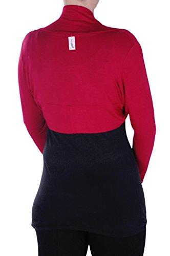 Tailles Bolero Cardigan Avant Rhea Catch Rouge Cardi Enveloppez Ouvrir Eye Femmes Shrug Dames Tops tcR7gqB