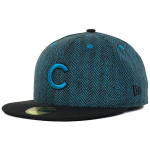 New Era Chicago Cubs Sub Out Herringbone Print Pattern 59Fifty Fitted Cap Hat (Blue-Black, 7 1/8)
