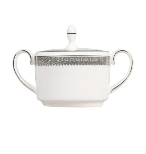 Vera Lace Sugar Bowl with Lid (Bowls Platinum Vera Wang)