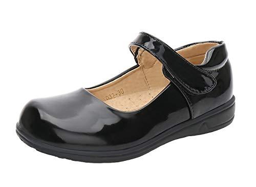 WUIWUIYU Girls' Mary Jane Flats School Performance Uniform Dress Shoes(Toddler/Little Kid/Big Kid)
