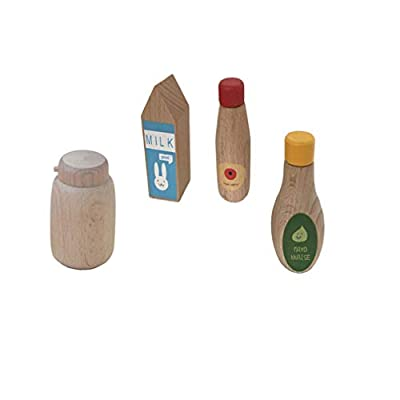 BESPORTBLE Wooden Kitchen Pretend Play Food Playset Sauce Bottle Pepper Jar Model Wood Toy for Toddlers Baby Playing Birthday Gift DIY Crafts 4pcs (Mixed Style): Toys & Games
