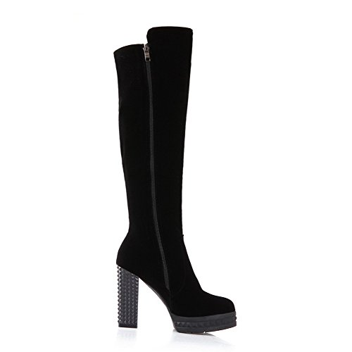 AmoonyFashion Womens Round-Toe Closed-Toe High-Heels Boots and Platform Black 5ly1H