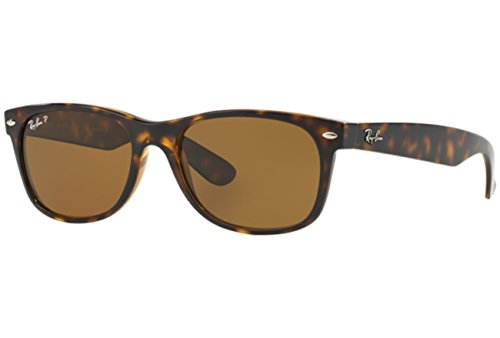 Ray-Ban New Wayfarer Sunglasses (RB2132) Tortoise/Crystal Brown Polarized Lenses - Polarized - 55mm