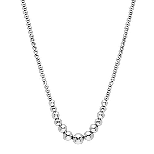 Sterling Silver Graduated Ball Beaded Necklace, 18'' (Graduated Beaded Chain)