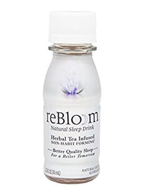 REBLOOM Natural Sleep Aid with Melatonin, Valerian & Chamomile | Herbal Sleeping Supplement Drink 7-Bottle Pack | Non-Habit Forming Pill Alternative | With Magnesium and Vitamin E & B-12