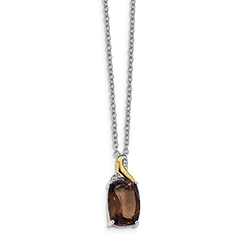 Solid 925 Sterling Silver & 14K Brown Smoky Simulated Quartz & Diamond Necklace Chain 18