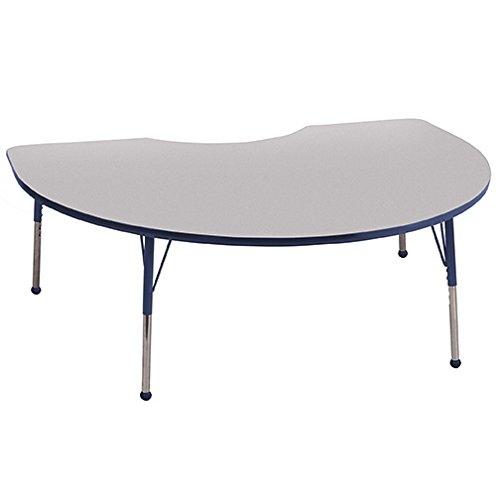 "ECR4Kids 48"" x 72"" Kidney Shape Activity Table, Grey Top/NavyEdge, Standard Legs/Ball Glides, Six 16"" Navy School Stack Chairs"