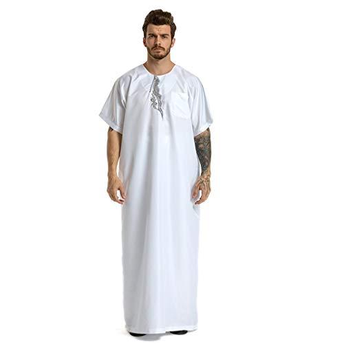 Robe Casuale Colore Clothes Etnica Puro polpqed Tunic Saudita Semplice collar Corta Bianca Manica Estate Islamico Vintage Musulmano O Uomo zUVpMS