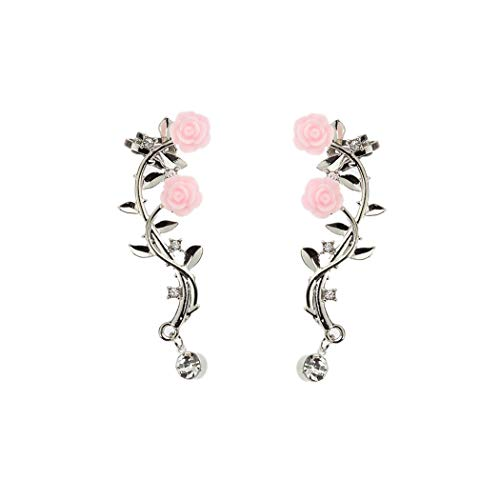 Silver Rose Branch Climber Flower Wrap Cuff Earrings Tiny Crystal Clip On Jewelry for Valentine's Day - Ear Cuff Flower