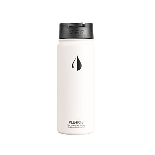 Double Wall Insulated Stainless Steel (Klear Bottle - 18 Oz Stainless Steel Water Bottle - Double Wall Vacuum Sealed Insulated (White))