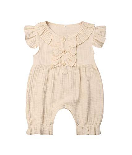 VISGOGO Newborn Baby Girls Boys Kid Solid Colour Bodysuit Sleeveless Romper Jumpsuit + Headband 2PCS Clothes Sets (C-Beige, 6-12 Months)