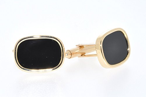 14K Yellow Gold Cufflinks with Onyx 14k Gold Onyx Cufflinks