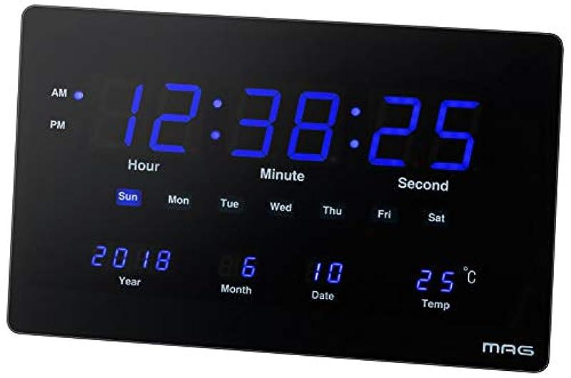 MAG(머그) 벽시계비 전파 디지탈 디지털 블루 온도 캘린더 표시 두어 걸이 겸용 블랙 W-724BK