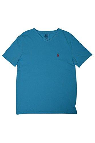 Polo Ralph Lauren Classic V-Neck Tee (Large, Light Blue)