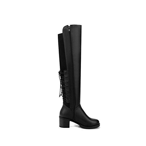AllhqFashion Damen Blend-Materialien Hoch-Spitze Rein Ziehen auf Mittler Absatz Stiefel, Schwarz, 37