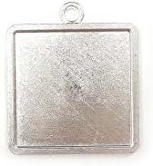 【HARU雑貨】シルバー ミール皿 1枚/四角 スクエア 銀 s17/セッティング レジン アクセサリーパーツ