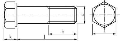 Stahl verzinkt 8.8 Werkstoff:Stahl verzinkt 8.8 d:M 6mm l:45mm M 6x45 Sechskantschraube DIN 931
