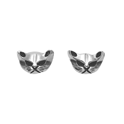 Sterling Silver Cat Face Stud Earrings