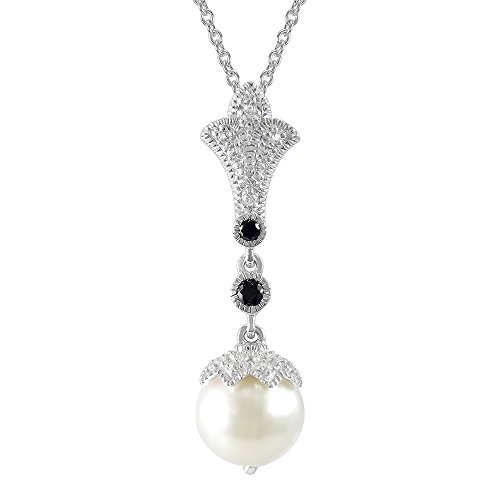 - Sterling Silver Fresh Water Pearl with 0.2 cts White Topaz & 0.1 cts Black Spinel accents Fleur-de-lis Pendant 18
