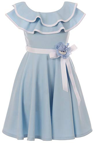 BNY Corner Little Girl Ruffle Cold Shoulder Graduation Wedding Flower Girl Dress USA Light Blue 6 JKS -
