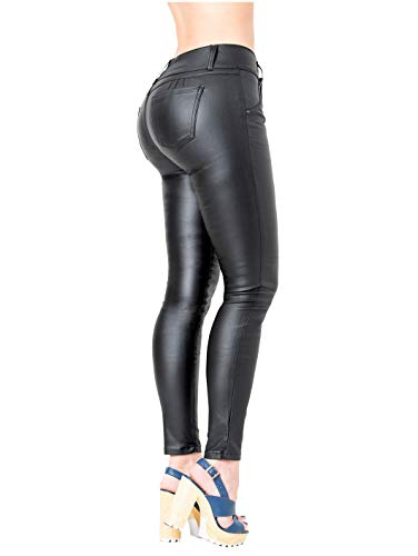 LOWLA 0719 Faux Leather Pants for Women | Pantalones Colombianos De Cuero Black 6