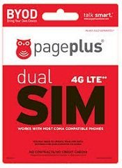 Page Plus Dual Purpose 4G LTE Sim Card Kit Micro and Regular for Verizon 4G LTE Phone