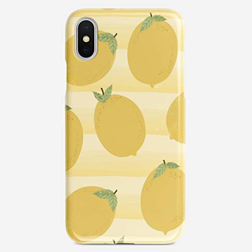 ZHIQCH iPhone X case Yellow Lemons Summer Fruit Watercolor Stripe Fun Slim Fit Hard Plastic Cover Cases Full Protective Anti-Scratch Resistant Compatible with iPhone X
