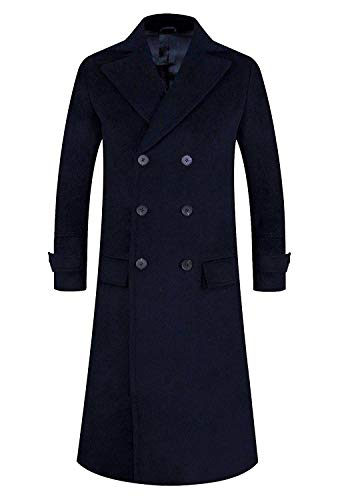 APTRO Men's Wool Trench Coat Fleece Lining Double Breasted Full Length Overcoat 1818 Navy L