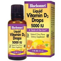 Liquid Vitamin D3 Drops, 5000 Iu, Citrus Flavor 1 Fl Oz by Bluebonnet Nutrition (Pack of 3) by Bluebonnet Nutrition