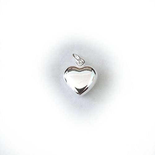 5 qty. Large (12x11mm) Puff Heart Charm, .925 Sterling Silver by JensFindings (Heart Puffed Charm 12mm)