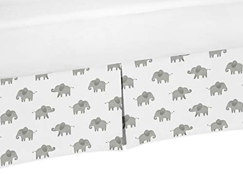 Sweet Jojo Designs Grey and White Unisex Pleated Baby Crib Bed Skirt Dust Ruffle for Watercolor Elephant Safari Collection - Zoo Crib Bedding Collection